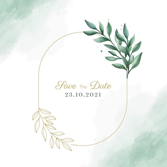 Watercolor rustic leaf frame design vector with save the date text