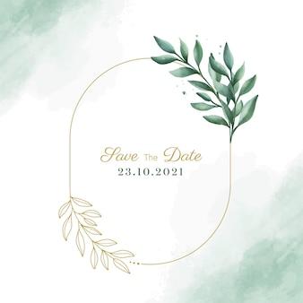 日付を保存テキストと水彩素朴な葉フレームデザインベクトル