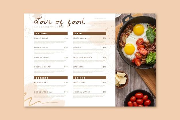 Акварельное деревенское меню ресторана с фото