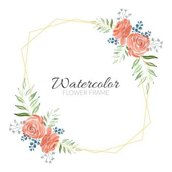 Watercolor rustic rose bouquet floral frame