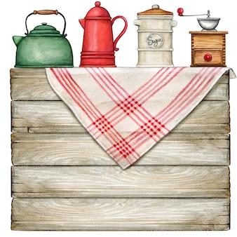 国のテーブルクロスとビンテージポットと水彩の素朴なテーブル
