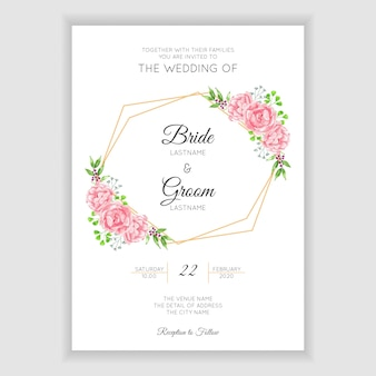 Watercolor rustic wedding invitation with pink flower