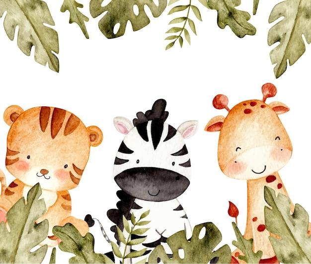 Watercolor safari animal template