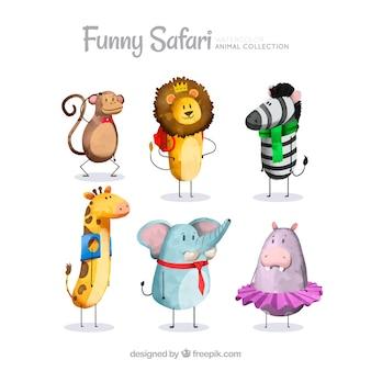 Watercolor safari animals dressed up