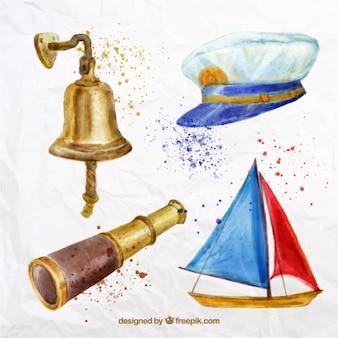 Watercolor sailing elements pack