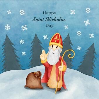 水彩画の聖ニコラスの日のコンセプト