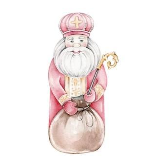Акварель святой николай