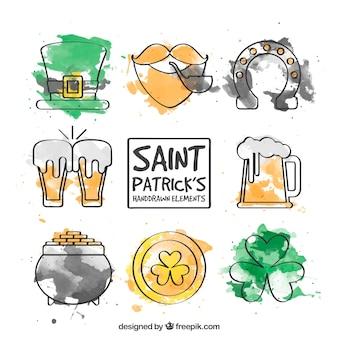 Watercolor saint patrick's day elements set