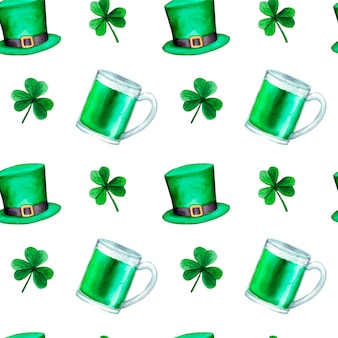 Watercolor  saint patrick's day pattern, with clover, hat and green beer