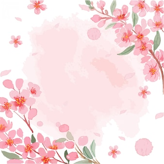 Watercolor sakura cherry blossom border frame with texture template