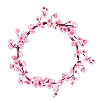 Watercolor sakura, cherry blossom branches wreath.