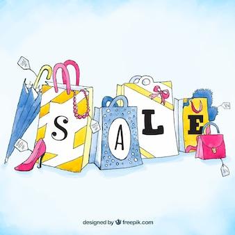 Acquerello sfondo di vendita con le borse