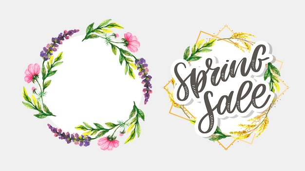 Watercolor sale banner background template with beautiful flowers.