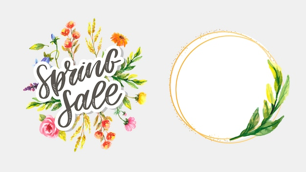 Watercolor sale banner  with beautiful flowers. simple frame with leaves. set