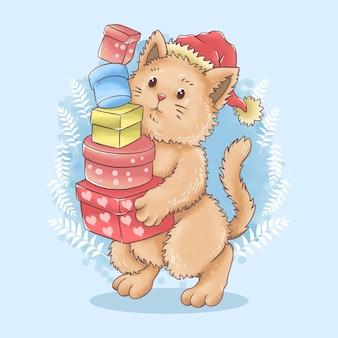 Watercolor santa cat brings christmas gifts