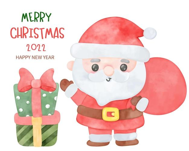 Watercolor santa claus cartoon christmas day with gift kawaii character