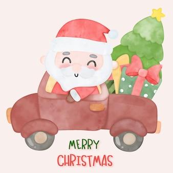 Watercolor santa claus cartoon drive car with christmas gifts kawaii character