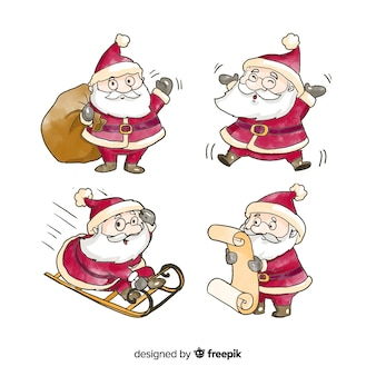 Watercolor santa claus character collection