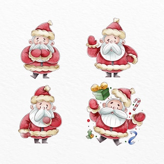Watercolor santa claus character collection