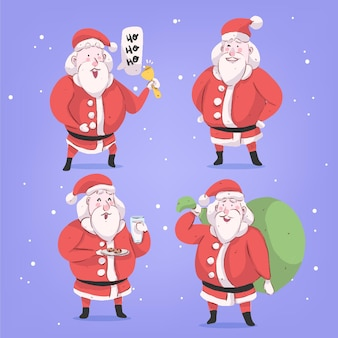 Watercolor santa claus character set