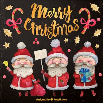 watercolor santa claus characters with gifts set
