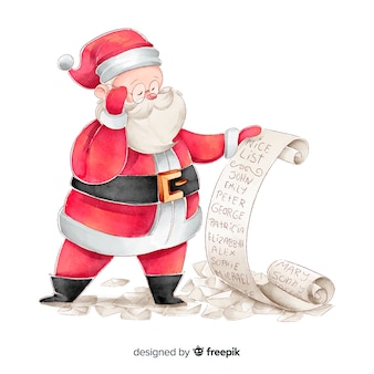 Watercolor santa claus checking wishes list