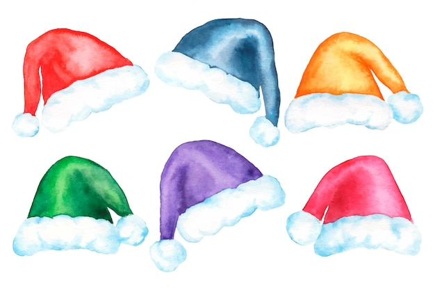 Watercolor santa claus hat collection