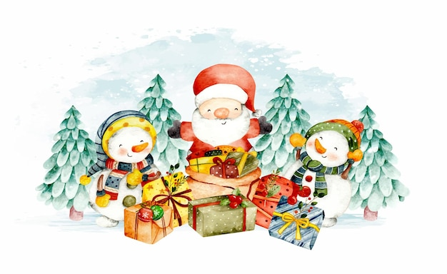 クリスマスの雪だるまと水彩サンタクロース