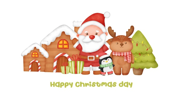 Watercolor santa clause and friends for greeting card .