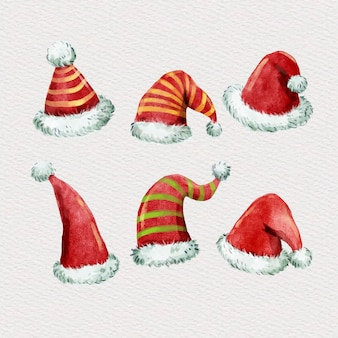 Watercolor santa's hat collection