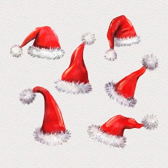 Watercolor santa's hat set