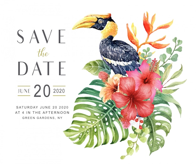 Watercolor save the date card with great hornbill bird.