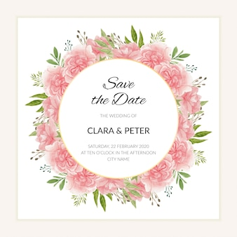 Watercolor save the date template with circle flower frame