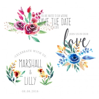 Watercolor Save the Date Bouquet Collection