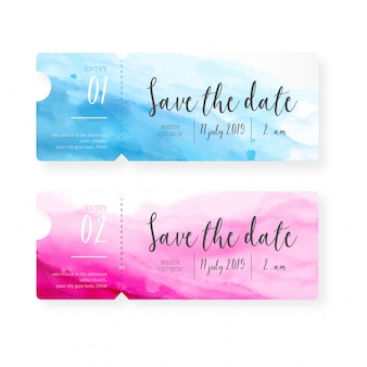 Watercolor Save the Date Tickes