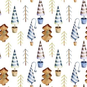 水彩スカンジナビアのクリスマスツリーのシームレスなパターン
