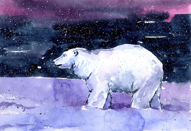 Watercolor scenic beautiful illustration painting background polar bear at the north pole in winter in the snow