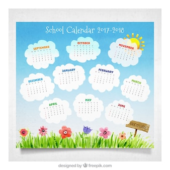 Watercolor school calendar with cute garden