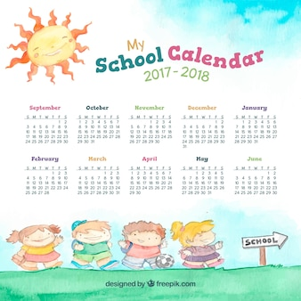 Watercolor school calendar with kids on the way to school