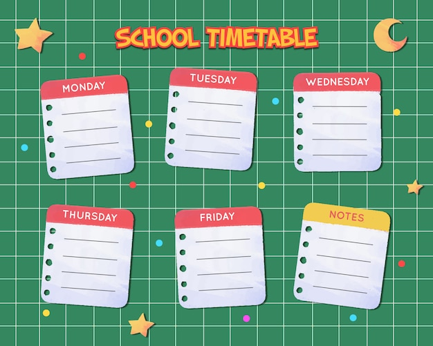 Watercolor school timetable template
