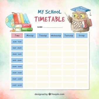 수채화 학교 시간표 템플릿