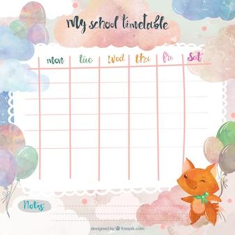 여우와 수채화 학교 시간표