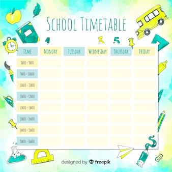 Watercolor school timetable with elements