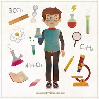 Watercolor science boy