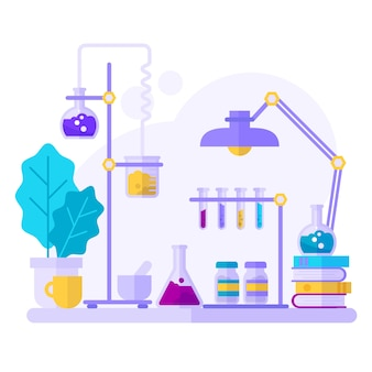 Watercolor science objects in lab