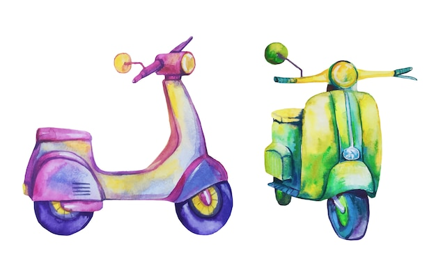 Watercolor scooters.