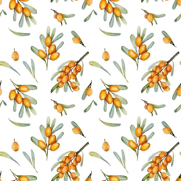 Watercolor sea buckthorn berries seamless pattern
