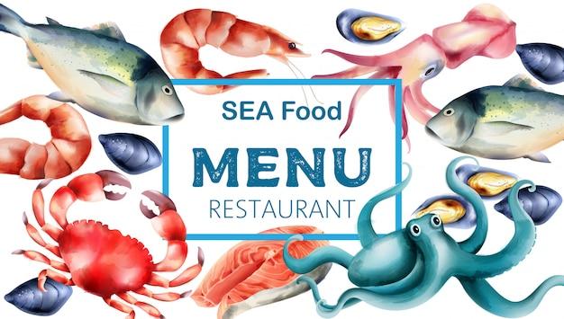Watercolor sea food menu with fresh fish and mollusc