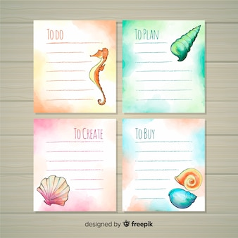 Watercolor sea style to do list collection