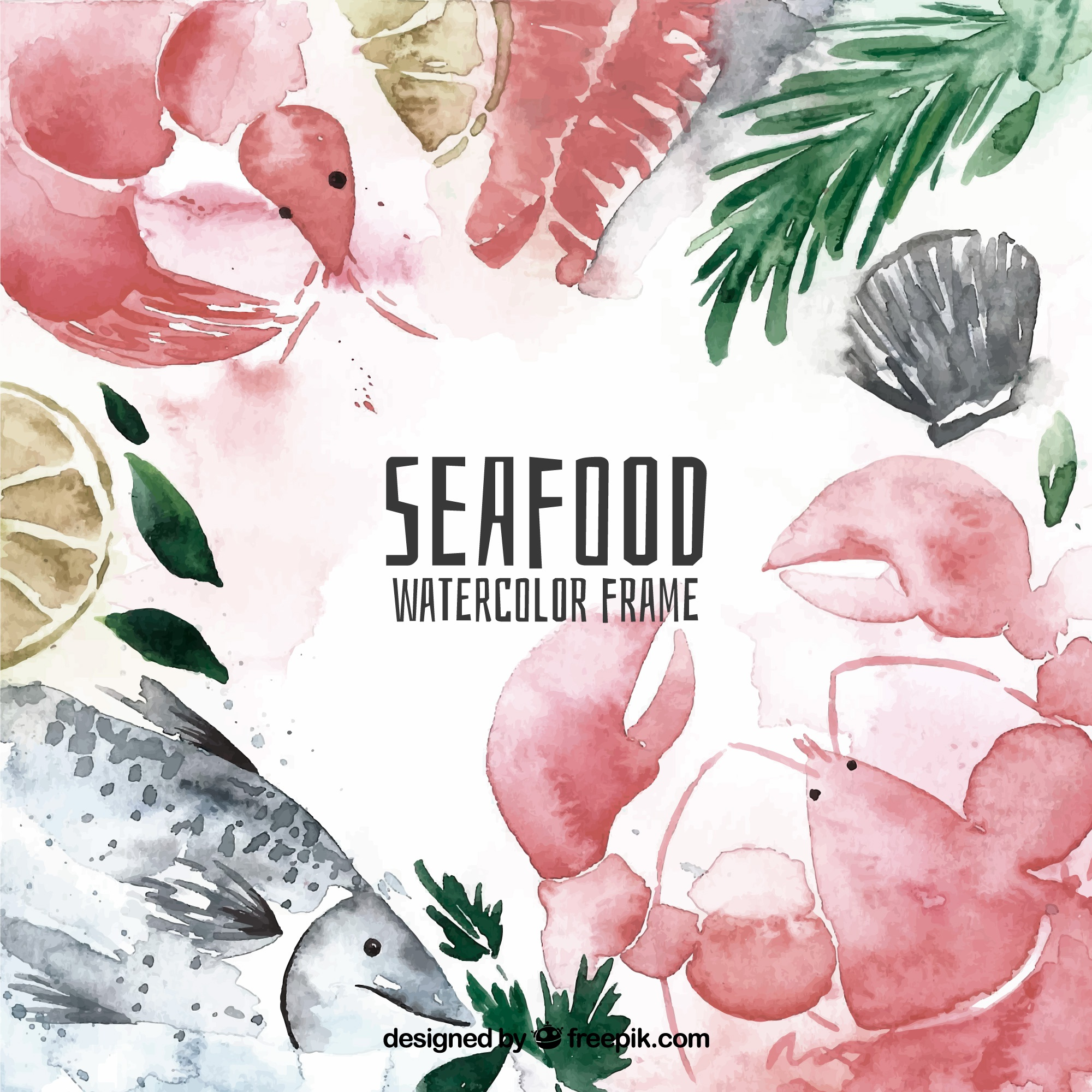 Watercolor seafood frame